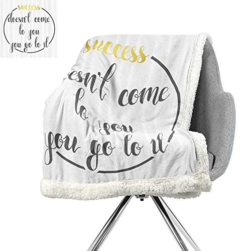 (Quotes Decor Collection Blanket Small Quilt,Success Doesnt Come to You,You Go to It Inspirational Saying Lifestyle Trendy Design,Bed Cover W59xL47 Inch Yellow Gray)