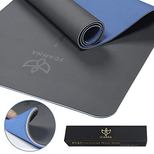 ICANNA Pro Non Slip Yoga Mat with Alignment Lines – 73 Extra Long Extra Thick with Strap, eco Friendly TPE Materials,1 4 inch Thick Pilates mat for Tall Men Women