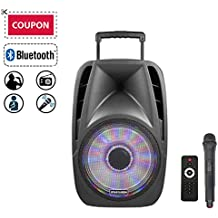"""STARQUEEN 12"""" Portable Bluetooth PA Audio Speaker System with Wireless Handheld Microphone, Mic/Guitar Jack, USB/SD/FM Radio Function, Telescoping Handle & Wheels, Black"""
