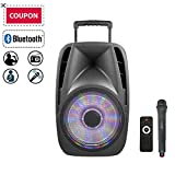 "STARQUEEN 12"" Portable Bluetooth PA Audio Speaker System with Wireless Handheld Microphone, Mic/Guitar Jack, USB/SD/FM Radio Function, Telescoping Handle & Wheels, Black"