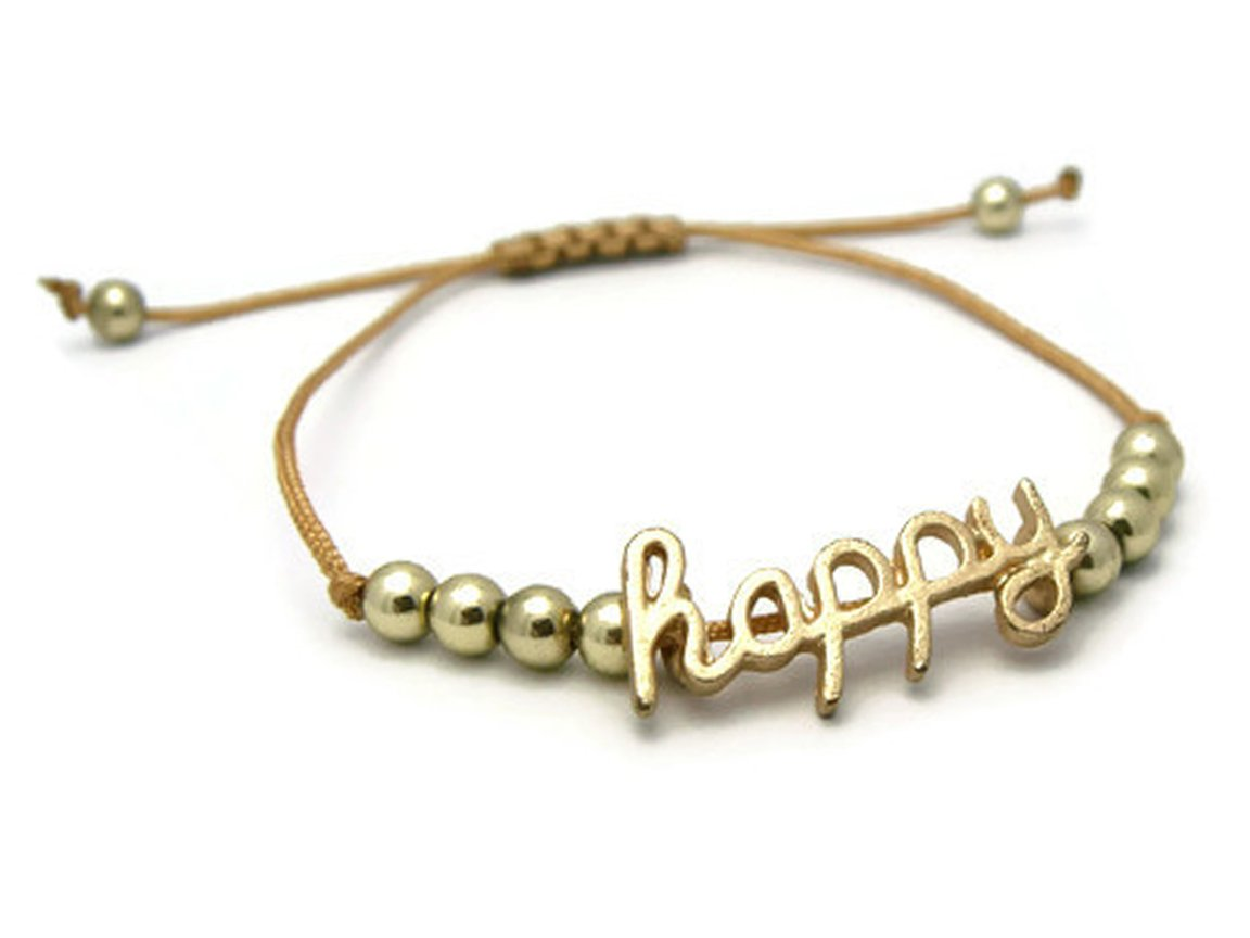 APECTO Style Simple Gold Tone Plated Bracelet Adjustable Gift Womens Girls Teens, Happy (SM63)