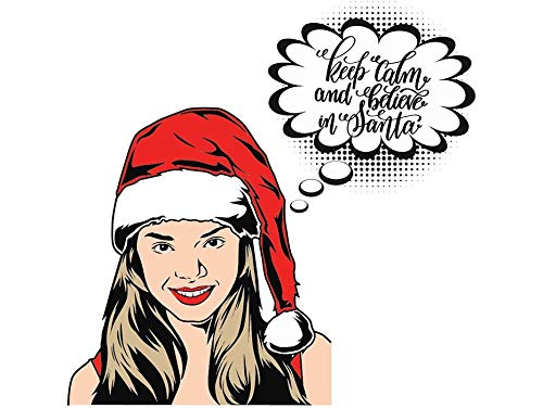 (Yetta Quiller Women Santa Hat Beautiful Lady Holiday Event Fashion Model Glamour Bizarre Vector Clipart Digital Circuit Vinyl Wall Decor Cutting)