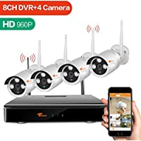 [8CH Expandable System] CORSEE Auto-Pair Wireless Surveillance Camera System with 4 x 960P Weatherproof Night Vision Wireless IP Cameras,View Remotely,Auto-Pair,No Hard Drive (Plug and Play)