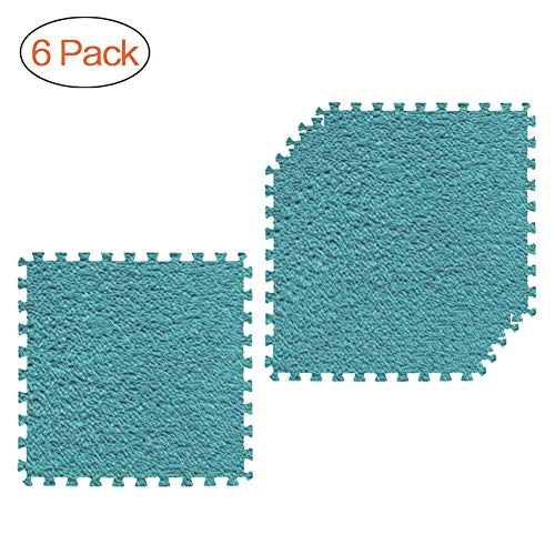 Embrace Carpet Tiles - AOFITEE Interlocking Carpet Tiles 6 Pack, Fuzzy Area Rug for Kid's Playroom, Extra Thick Puzzle Exercise Mat with EVA Foam