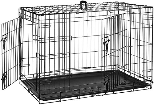Pet Kennel Cat Dog 2Door w/Divide w/Tray Folding Steel Crate