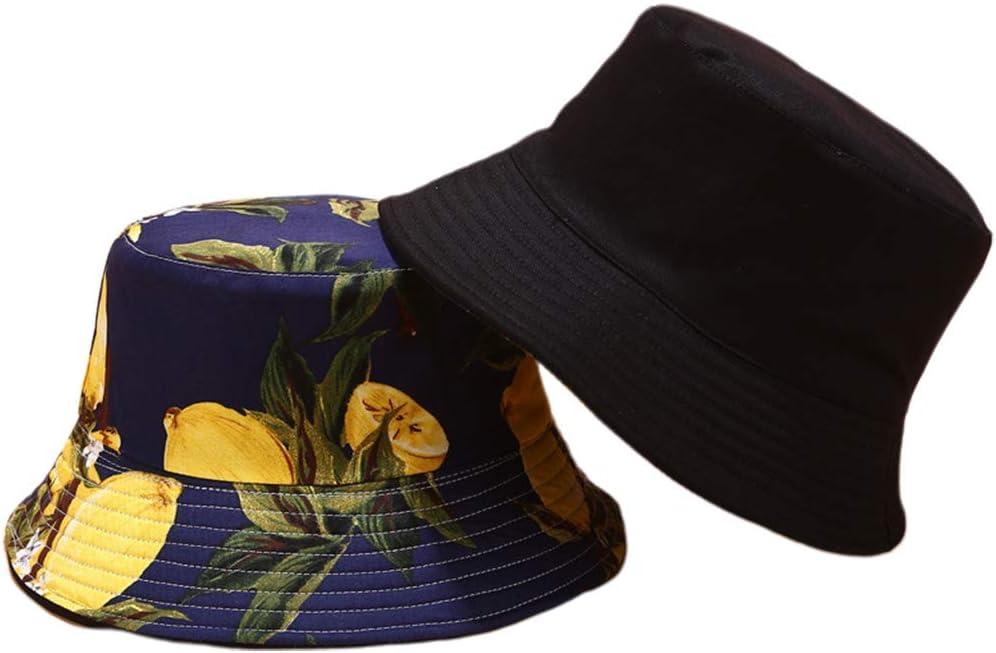 iSpchen Chapeau De P/êcheur Mode Chapeau de Soleil Motif de Fruit Citron en Coton Double Face Bob Bucket Hat Chapeau dext/érieur d/'/ét/é pour Homme et Femme Anti-UV Protection