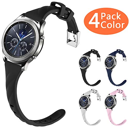 Gear S3 Bands, Silicone Watch Bands for Women Extremely Narrow Rubber Watch Strap Quick Release Replacement Wristband Compatible Samsung Gear s3 Frontier/Gear s3 Classic Smart Watch (4 Pack)