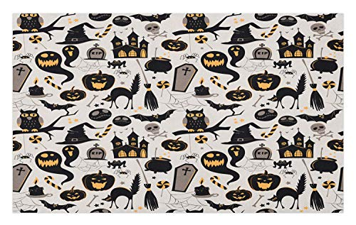 Ambesonne Vintage Halloween Doormat, Halloween Cartoon Jack o Lantern Tombstone Skulls and Bones, Decorative Polyester Floor Mat with Non-Skid Backing, 30 W X 18 L Inches, Pale Grey Multicolor]()