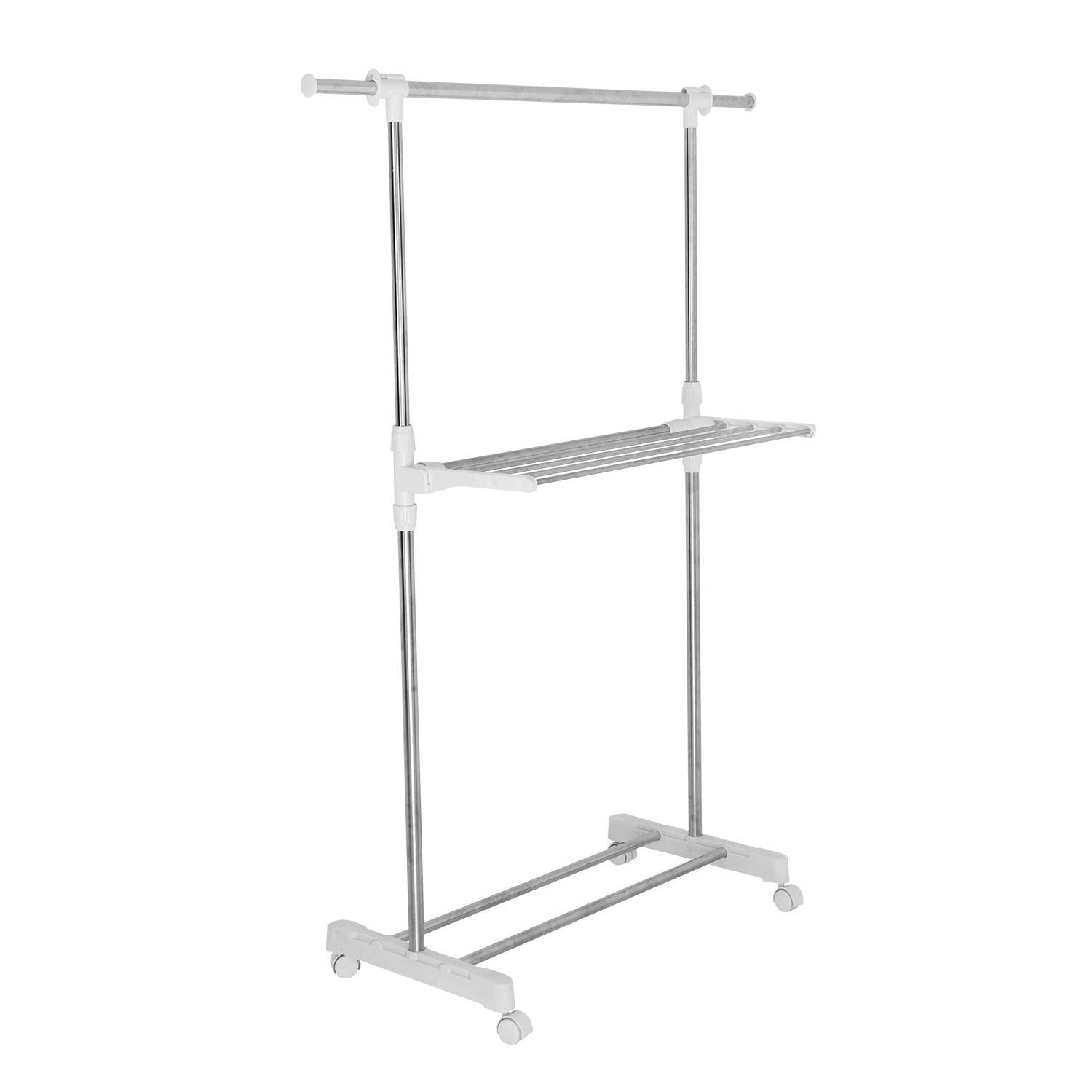 soges Percheros Modernos de pie, Acero Inoxidable Heavy Duty Double Rail, Ropa Ajustable de Rodadura Perchero de Ropa Periódico de Secado de Ropa Rack ...