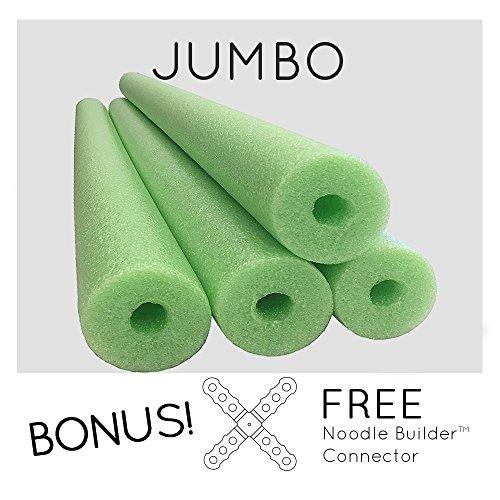 4 Pack Oodles Monster 55 Inch x 3.5 Inch Jumbo Swimming Pool Noodle Foam Multi-Purpose Lime Green (Jumbo Pool)