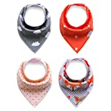 Baby Bandana Drool and Dribble Bibs for Boys and for Girls - (Set of 4, Gift Set) - Best for Babies Drooling, Teething and Feeding (design1)
