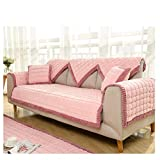 YQ WHJB Winter Plush Sofa Towel,Quilted Sofa Cover,Anti-Slip Bay Window pad,One Piece Multi-Size Solid Color Sofa Protector-Pink 90x210cm(35x83inch)