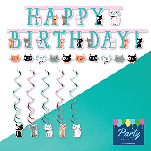 Purr Fect Cat Party Decoration Supply Kit   Banners  Hanging Decorations  Table Cover