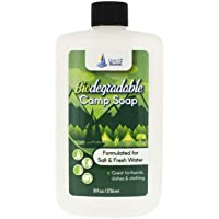 Direct 2 Boater Biodegradable Camp Soap, 8 oz (2 Pack) for Fresh & Salt Water, for Hands, Dishes & Clothing - Unscented Liquid Camp Soap