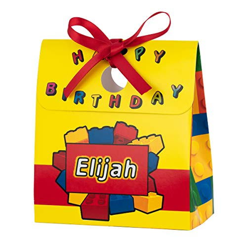 Personalized Treat Bags for Kids | 12 Mini Treat Boxes Per Pack | Lego-Style Blocks Themed | Customized Happy Birthday Party Favors for Boys & Girls | Fill with Your Treats & Gifts -