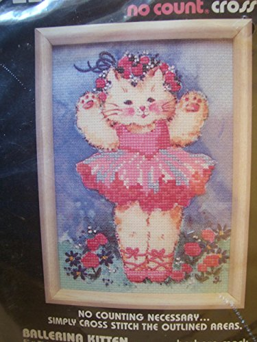 Dimensions Ballerina Kitten No Count Cross Stitch Kit Barbara Mock Roses