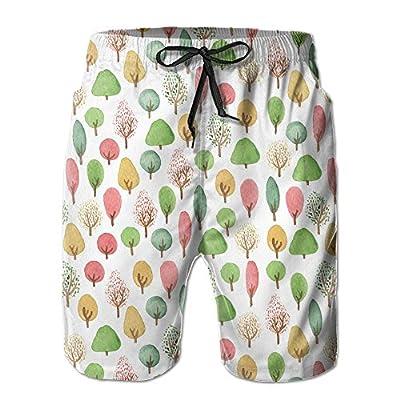 Nice Qpkia Cartoon Tree Pattern Men Bathing Suits Pants Pocket for sale