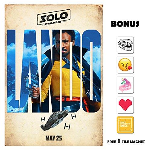 SOLO A Star Wars Story Movie Poster 13 in x 19 in Poster Flyer BORDERLESS - Lando - Bonus Free 1 Tile Magnet