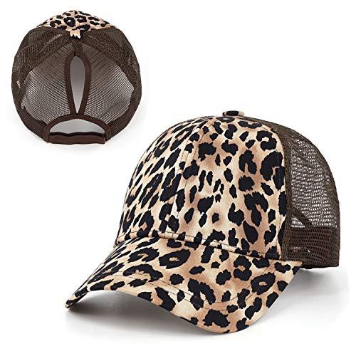 - Exclusives Leopard Print Fabric Ponytail Baseball Cap Mesh Trucker Hat Dad Hat Golden