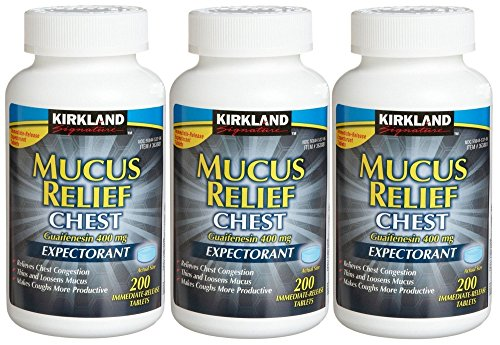 - Kirkland Signature Mucus Relief Chest Guaifenesin 400 mg Expectorant - 200 tablets, 3 pack