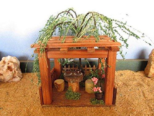 Miniature Fairy Garden Willow Tree Topped Gazebo Atrium Tree house OOAK handmade decor gnome - Wood Atrium