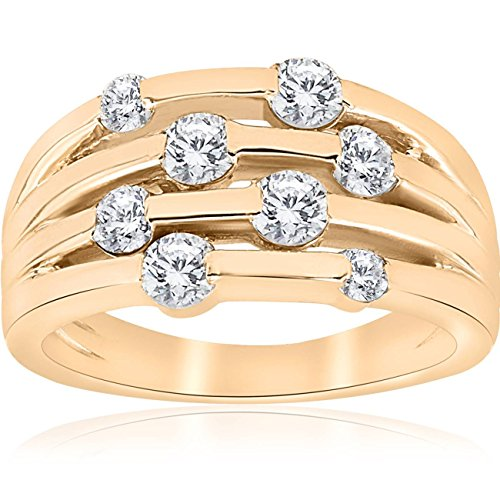 1ct Yellow Gold Real Diamond 14K Right Hand Womens Fashion Multi Row Ring - Size 8