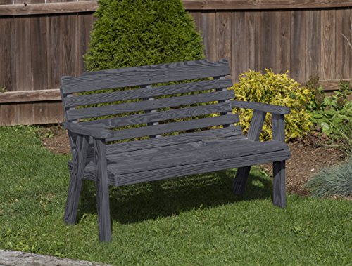 (Amish Heavy Duty 800 Lb Classic Park Style Pressure Treated Garden Bench-4 Feet-BLACK-Made in USA)