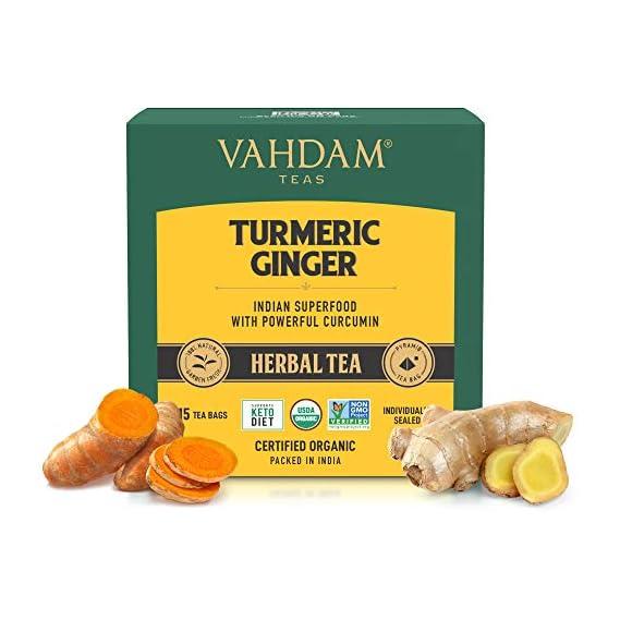 VAHDAM, Organic Turmeric + Ginger Powerful SUPERFOOD Blend (15 Tea Bag) Herbal Tea   Powerful Wellness & Healing Properties of Turmeric & Ginger   100% Natural   Brew as Hot or Iced Tea