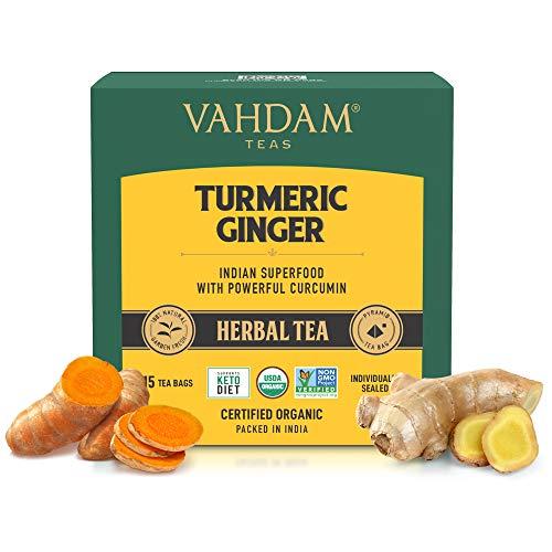 VAHDAM, Organica te de hierbas SUPERFOOD potente de curcuma + jengibre (30 Bolsitas De Te) | Potentes propiedades de bienestar y curacion de la curcuma con de jengibre | Te de desintoxicacion