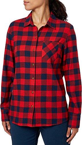 Field & Stream Women's Classic Lightweight Flannel Long Sleeve Shirt (She Buf Pom Red, M) ()