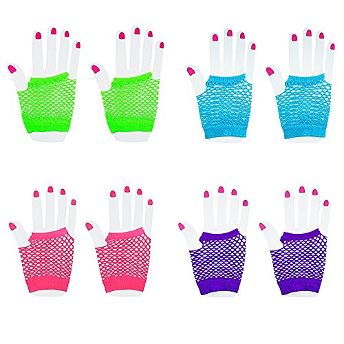 [[Novelty Place] Fingerless Diva Fishnet Wrist Gloves Assorted Neon Colors (36 Pairs)] (90s Hip Hop Costume)
