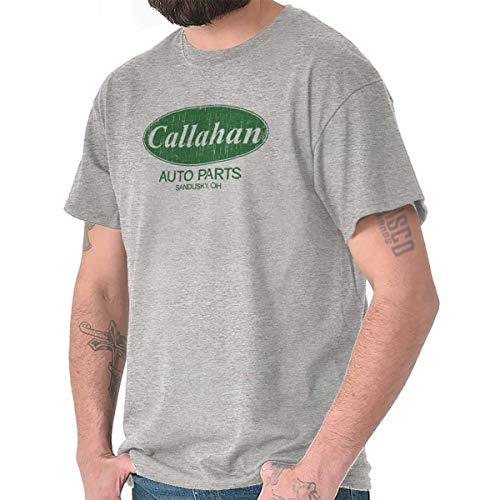 Brisco Brands Callahan Auto Parts 90s Movie Retro Parody T Shirt Tee Sport Grey