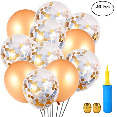 (  Shiny Party Gold Champagne & Clear Confetti Balloons with Silver & Gold Dots 20 Pack - 18 inches Latex Balloons, Air Pump, Ribbon,Clips for Wedding, Birthday Party, Baby Shower, Proposal Decorations)