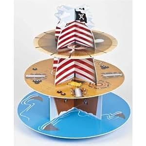3 baldas de madera de diseño de barco pirata de cartón bandeja para tartas