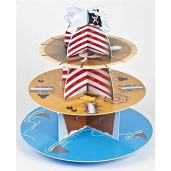 Barco pirata de cartón 3 niveles soporte para magdalenas, diseño: Amazon.es: Ropa y accesorios