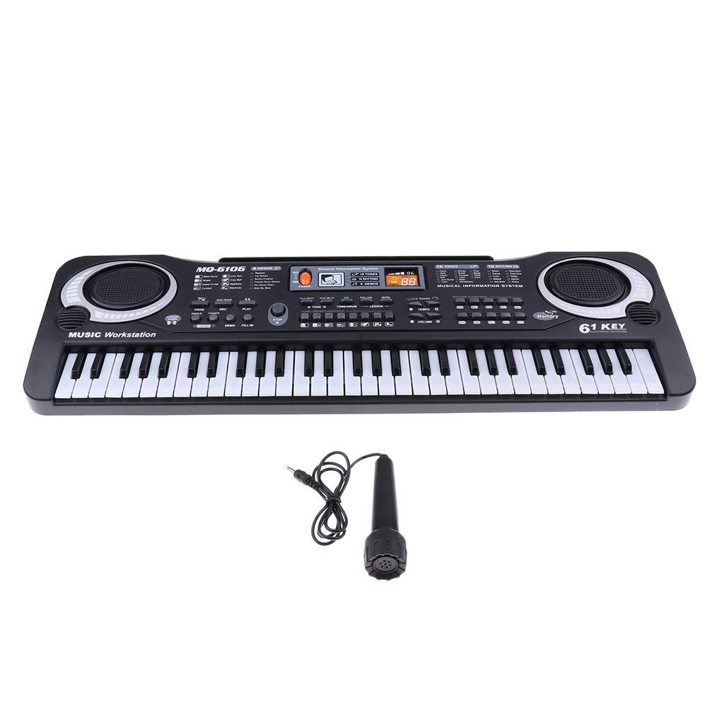 Homyl Jouet éducatif Piano Portable D'enfant, 61 Touches de Clavier D'orgue Électronique avec Microphone, Cadeau pour les Enfants