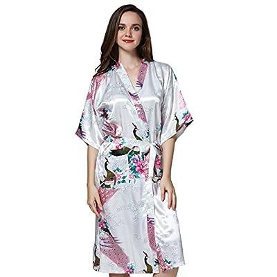 AICONL Women's Printing Peacock Vintage Kimono Robe Silk Bridal Robe Wedding Nightgown