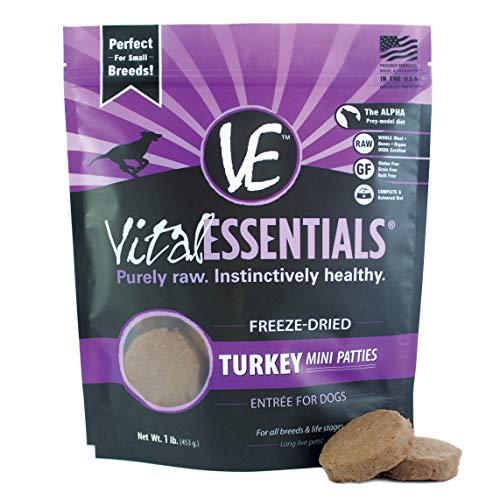 Vital Essentials  Freeze-Dried Turkey Mini Patties Grain Free Limited Ingredient Dog Food , 1 Pound -