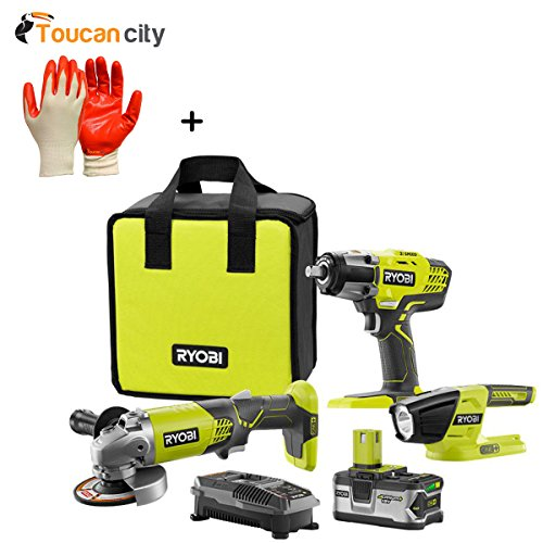 Ryobi 18-Volt Lithium-Ion Cordless Combo Kit 3-Tool with Battery 4 Ah Charger and Bag P1902N and Toucan City Nitrile Dip Gloves 5-Pack