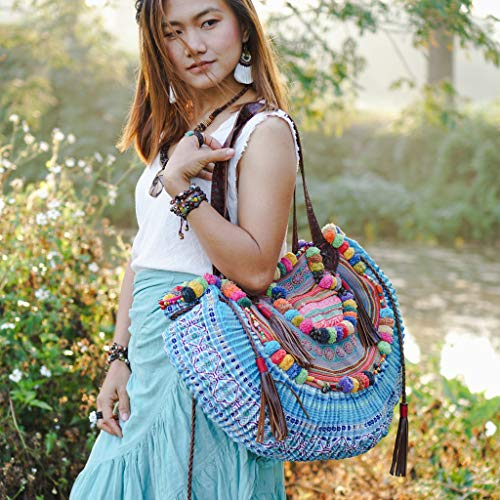 Bohemian Bag Changnoi Unique Womens Half Moon Shoulder Bag with Leather Strap One of a Kind Hmong Bag Beach Bag with Pom Pom
