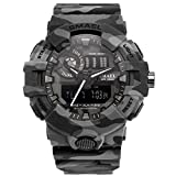 SMAEL New Camouflage Military Watch Sport Watches LED Digital Clock Dual Time Wristwatch Men's Army Watch Waterproof 8001 Series (Gray)