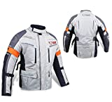 JET Motorcycle Motorbike Jacket Protective Textile Armoured Waterproof SILVER GREY (3XL (46' - 48'), Silver Grey)