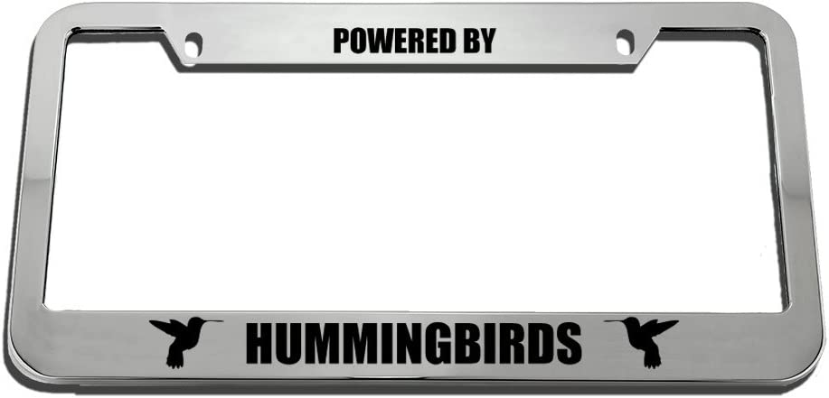 Speedy Pros Powered by Hummingbirds Zinc Metal License Plate Frame Car Auto Tag Holder Chrome 2 Holes