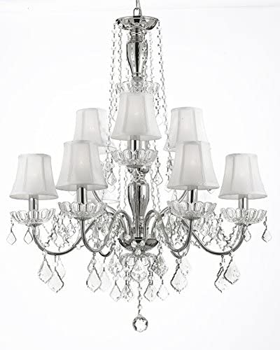 New Elegant Crystal Chandelier Lighting, 9 Lights, Shades Included,, H32 X Wd 26 Ceiling Fixture Pendant Lamp