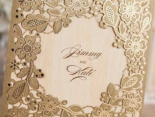 Wishmade 100X Printable Laser Cut Wedding Invitations Cards with Hollow Floral Card Stock For Engagement Birthday Party Baby Shower Bridal Shower Events CW5279 by Wishmade (Image #6)