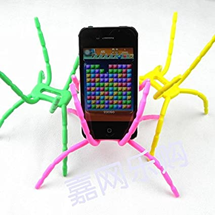 Review SALE Universal Multi-function Portable Spider Flexible Grip Smart Phones GPS Car Bicycle Bike Desk Plane Cup Book Support Cell Mobile Phone Holder hanging Mount and Stand for iPod iPhone 4/4S/5/5S/6 Samsung Galaxy Andriod MP4 (Random Bright Color)