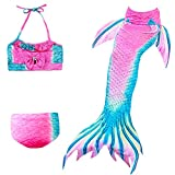 Das beste Girl's Swimsuit Mermaid Tail for Swimming,Colorful Swimmable Costume Cosplay Princess Swimwear Bikini Set Bathing Suit Set (No Monofin)