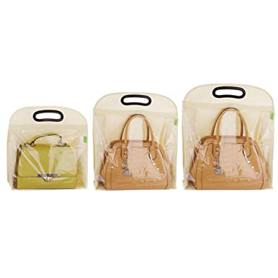 95427610d4 Echaprey 3Pcs Set Non-woven Fabric Hanging Handbag Dust Cover Bag Creative  Clear Closet