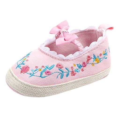 00a21a379bb85 Chaussures Chaussons Bébé avec Semelles Antidérapant Solide Princesse  Baptême Souples Premier Pas Fille Mignon pour Enfant