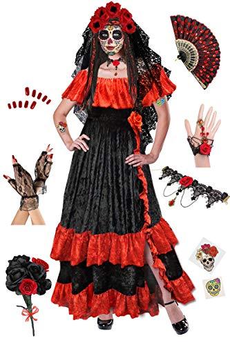 Dia de los Muertos Plus Size Halloween Costume Deluxe Wig Kit 2x